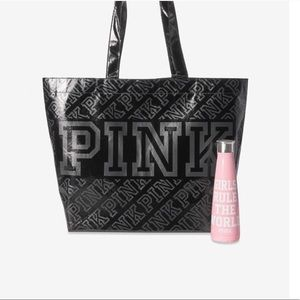 Pink bag and swell water bottle